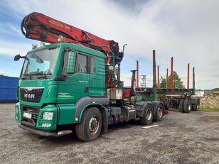 nákladní vozidlo na přepravu dřeva MAN TGS 26.480 6x4 H-2 BL + přívěs na přepravu dřeva
