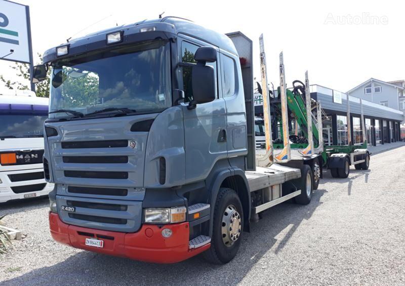 nákladní vozidlo na přepravu dřeva SCANIA R 420 + přívěs na přepravu dřeva