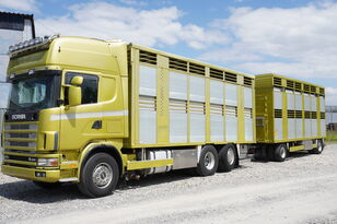 nákladní vozidlo na přepravu zvířat SCANIA R164 V8 , 6x2 , 2 hydraulic decks , 70m2 , live stock + přívěs na přepravu zvířat