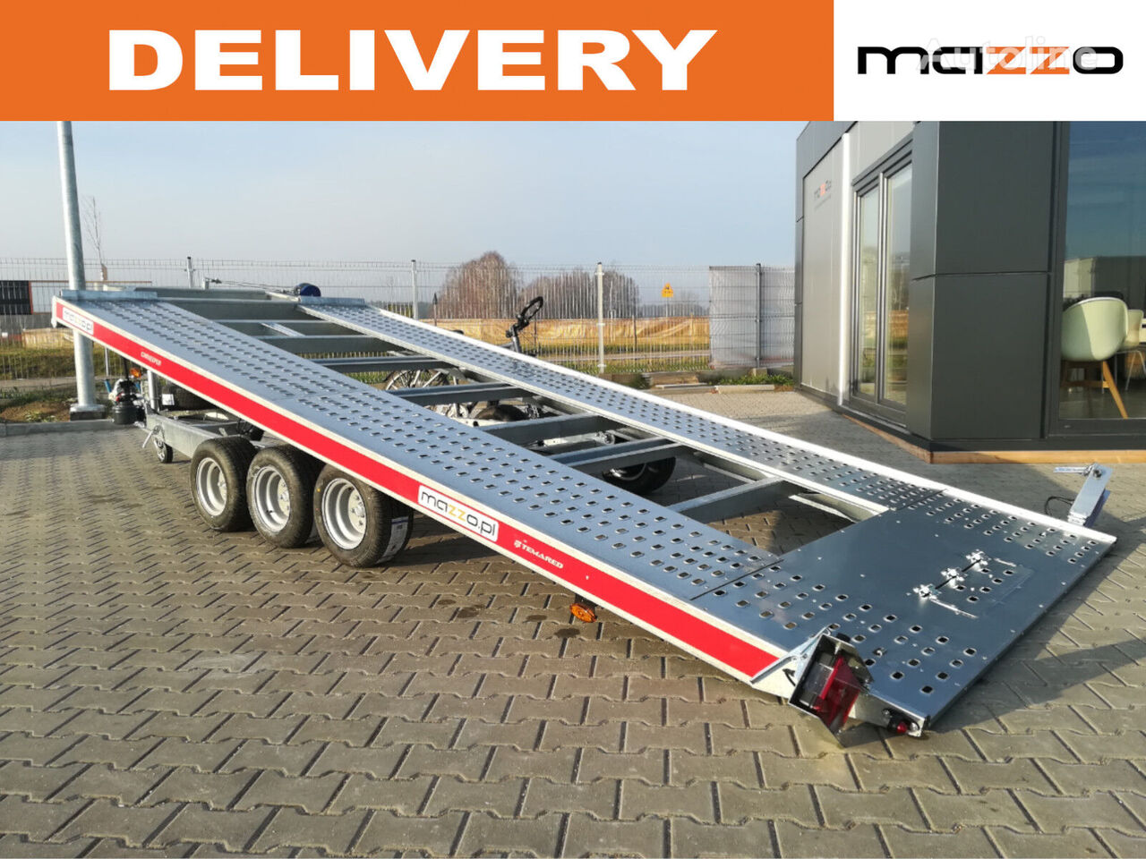nový přívěs autotransportér 480x203cm 4820/3 3-axles Tilt trailer with hand pump!