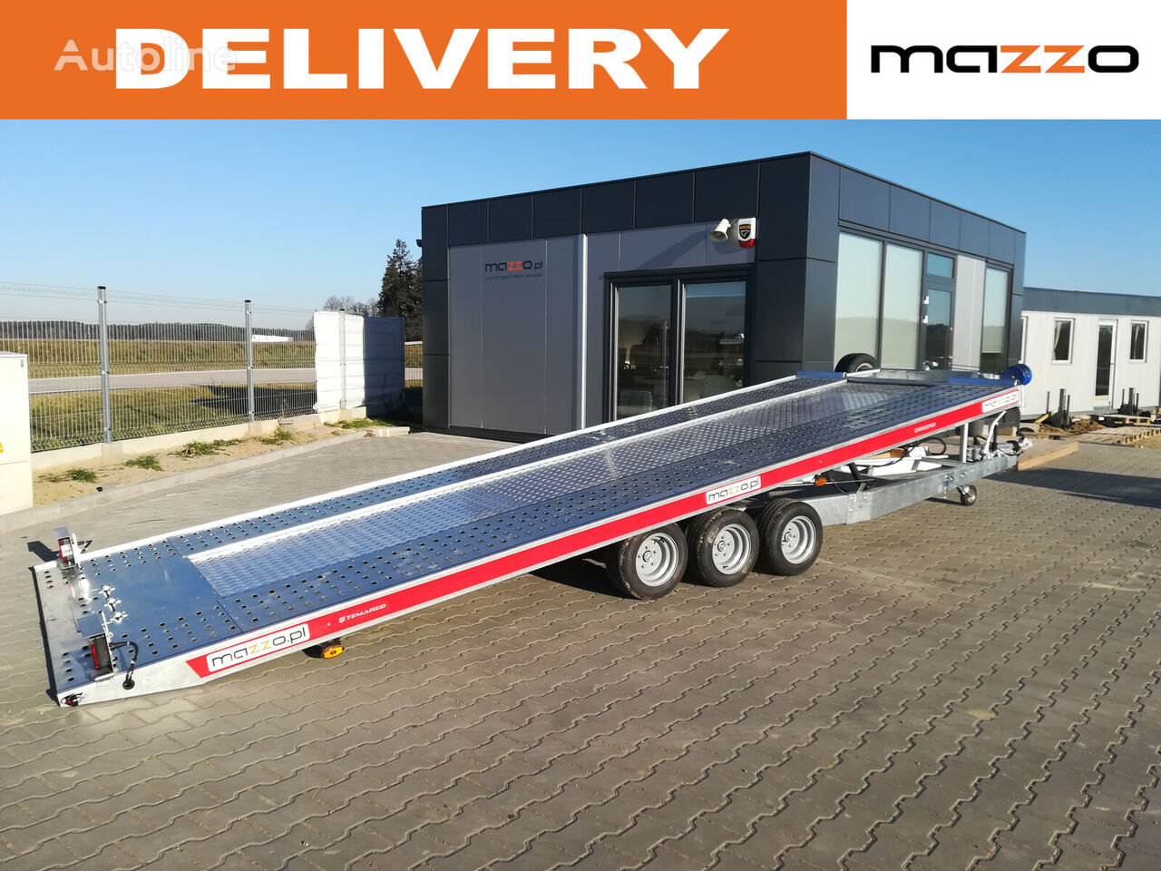 nový přívěs autotransportér 4820/3 480x206 Tilt trailer with hand pump!